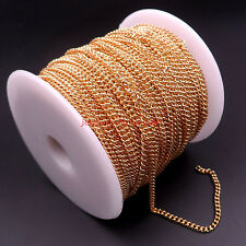 10m Thin 2mm Fashion Link Chain Stainless Steel Jewelry Finding Chain in bulk