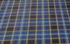 60 Inch Width Blue Check Polar Fleece, Material,Fabric,Soft /Washable +