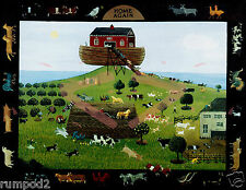 Folk Art/ Print/Poster/Noah's Ark/Bible Story/Animals/17x22 inch