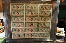 DISNEYLAND UNCIRCULATED UNCUT SHEET OF DISNEY DOLLARS 1987 A  #1 SERIES