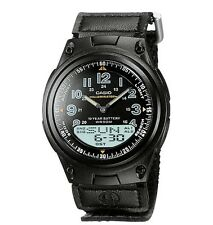 Casio AW80V-1B Men's Cloth Band Black Dial Analog Digital Telememo 30 Watch