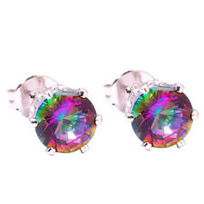 Silver Rainbow Topaz Women Jewelry Round Gemstone Stud Earrings 6mm FH2470