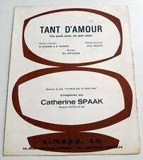 Partition vintage sheet music CATHERINE SPAAK : Tant d'Amour * 70's