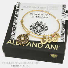 Authentic Alex and Ani Wings of Change Rafaelian Gold Charm Bangle CBD