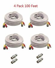 Premium Quality 4 x 100Ft Video Power BNC RCA Cable for Q-See CCTV Cameras-W