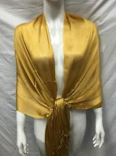 LIGHT WEIGHT SCARF WRAP EVENING WEAR ALL SEASON SOLID COLOR GOLD