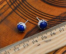 Deep Blue  Natural Lapis Lazuli Earrings  925 Silver