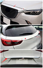 3* Front Hood + Rear Tailgate Door Trunk Lid Cover Trim For Mazda CX-3 2015 2016