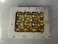 "12 VINTAGE FEATHER TREE GLASS ORNAMENTS - 1"" GOLD IN BOX"