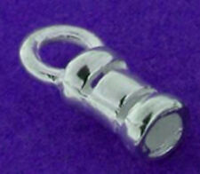 1 STERLING SILVER CRIMP CORD END CLASP WITH LOOP, 1.7 MM INTERNAL DIAMETER