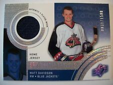 00-01 SPX Rookie Threads #138 MATT DAVIDSON HOME Jersey BLUE JACKETS  BOX # 52