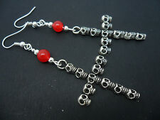 A PAIR OF LONG DANGLY SKULL CROSS RED JADE BEAD EARRINGS. NEW.