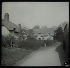 Glass Magic Lantern Slide STRATFORD UPON AVON COTTAGES NO2 C1910 ENGLAND