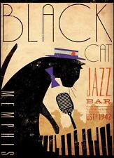 Black Cat Jazz Bar Memphis 1942 Art Image A4 Poster Gloss Print Laminated