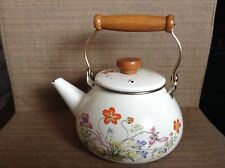 "Vintage Enamel Tea Pot Stove Top Kettle Flower Pattern Wooden Handle 9"" White"