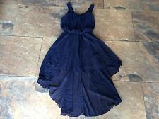 BNWT  £40 Love Topshop Dress M/L Blue Dip Hem Pleat Neck Party Christmas