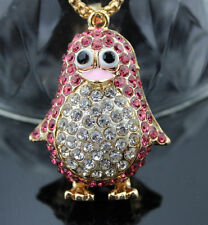 A109 Betsey Johnson Crystal Enamel pink penguin Pendant Chain Necklace