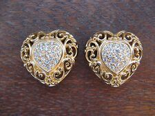 CHRISTIAN DIOR HEART SHAPE EARRINGS CLIP ON PAVE CRYSTAL GOLD TONE FANCY BOARDER