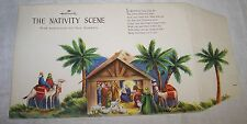Vtg Hallmark Nativity Scene Stand Up Cut Out Christmas Greeting Card Gold NOS