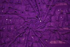 "Purple Sequin 1"" Ruffle Knit 95% Polyester 5% Spandex Lycra Stretch Sewing BTY"