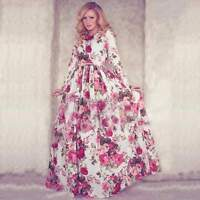 Women Boho Floral Long Maxi Evening Cocktail Party Pleated Dress Chiffon Dress
