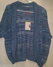 Laura Scott NWT Woman's Light/Dark Blue/White Design Sweater Cover Size L