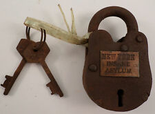 Cast Iron Padlock New York Insane Asylum Lock W/2 Keys Works Free Ship