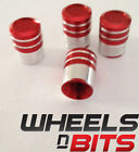 Red and Silver Striped Aluminium Valve Caps Suitable for Audi Car Vans SUV set 4