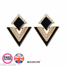 NEW Black Triangle Gold Crystal Earrings Stud Plated Jewelry Womens Ladies UK