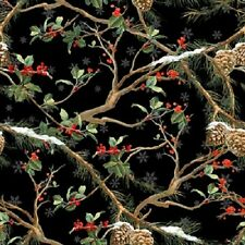 THE CARDINAL RULE SNOW SNOWFLAKES HOLLY PINE CONES CHRISTMAS FABRIC