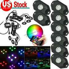 "8x 2"" Pod RGB LED Rock Light Mini Bluetooth for 4x4WD Offroad Jeep Truck Vehicle"