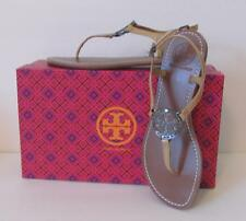 Tory Burch Violet Patent iced coffee leather thong sandal logo tan 7.5 crystal