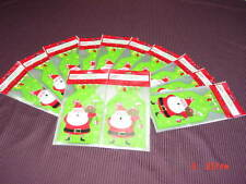 180 New Unused Holiday Time Santa Christmas Themed Cello Treat Bags & Ties