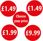 30mm Shop Price Labels Stickers Bright Red Various Quantities Available 99p, £1
