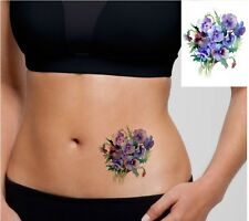SHIP FROM NY - Large Watercolor Pansy Temporary Tattoo