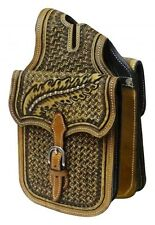 Showman Basket Weave Tooled Leather Western Horn Bag! NEW HORSE TACK!!!