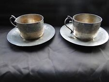 FRENCH TEA CUPS AND SAUCERS, SILVER PLATED MARKED AND ENGRAVED, 1880 ANTIQUE