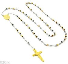 """Mens and Ladies Stainless Steel Gold/ Silver 30"""" Rosary Necklace 4mm Round Beads"""