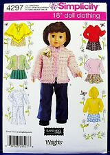 "Simplicity 18"" Doll Clothes Sewing Pattern American Girl Pants Skirt Poncho 4297"