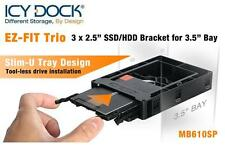 "New ICY Dock EZ-FIT Trio Triple MB610SP 3x 2.5"" HDD SSD Bracket for 3.5"" Bay"