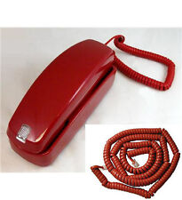 Red Corded Trimline Slimline Phone Desk Wall w/ 25ft Long Red Cord GE5303 2500RD