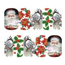 Full Wrap Nail Art Water Decals Stickers Christmas Santa Reindeer Holly (STZ409)