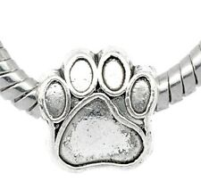 Silver tone Charm Bead Dog Paw Print Fits European Bracelet or Necklace C126
