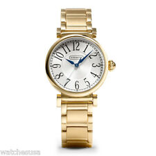 COACH Womens White Dial Gold Tone Stainless Steel Bracelet Watch 14501720