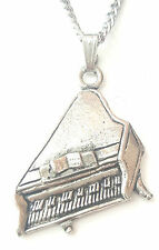 Piano Pendant Handcrafted in Solid Pewter In The UK + Free GiftBox PN71