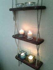 HANDMADE WOODEN THREE TIER  ROPE LADDER SHELF / SPICE RACK