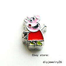 10pcs Cartoon Pig Floating charms For living memory Locket Free shipping FC1535