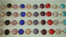 Job lot of 50 pcs Round shape Diamante Fashion Rings - NEW Wholesale lot J1