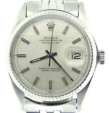Rolex Datejust Mens Stainless Steel & 18K White Gold Silver w/ Jubilee Band 1601