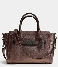 NWT❤️$450 COACH Leather Swagger 27 Carryall Crossbody Bag Bronze Brown 34816